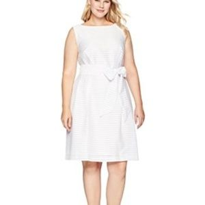 NWT! Anne Klein Shadow-Stripe Fit Flare Dress Whi